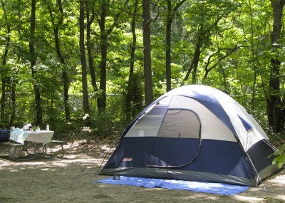 C&site with tent & Camping On The Lake Michigan Shoreline - Lake Effect Living