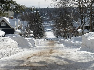 Houghton in the upper peninsula of michigan after lake effect snow