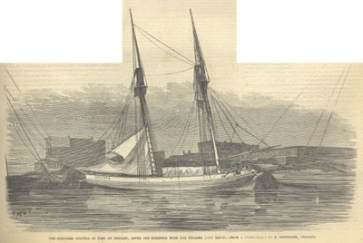 Engraving of the Augusta a few days after the collision