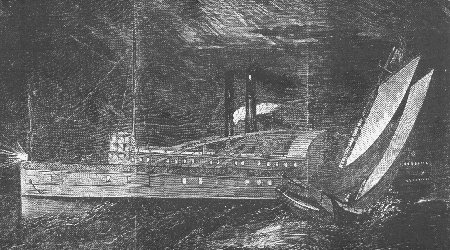 Engraving of the collision of the Lady Elgin and the Augusta at night