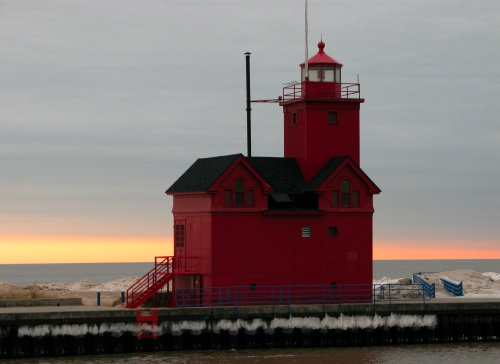 Big Red Lighthouse in January - Holland Michigan
