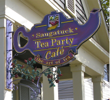 Sign in front of the Saugatuck Tea Party Cafe in Saugatuck, Michigan