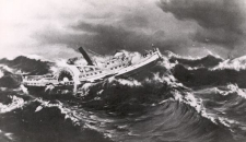 Drawing of the wreck of the steamship Alpena in a storm in 1880